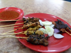5 Types of Satay - Chicken, Chicken Tom Yan, Pork, Intestine and mutton.