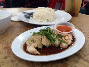 Chicken Rice. Somehow, I feel that this is a mixed of chicken rice and nasi lemak, because they have coconut milk in the rice.